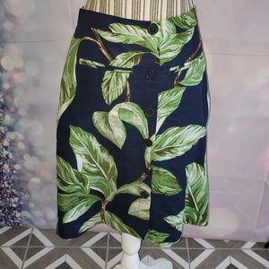 Ann Taylor Navy Palm Leaf Skirt